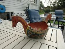 BIG OLD CARVED ROSEMALED NORWEGIAN ALE BOWL WITH HORSE HEADS NORWAY