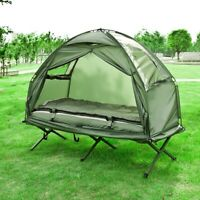 SoBuy Feldbett,4 in 1-Zelt mit Campingliege,Schlafsack,Luftmatratze,OGS32-GR