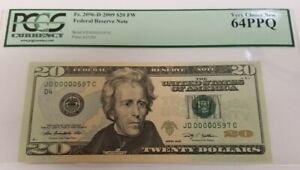 2009 20$ FEDERAL RESERVE NOTE PCGS 64PPQ VERY CHICE NEW BILL SERIAL No.597