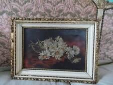 Shabby Daisy Bouquet 1800's Victorian Canvas Oil Painting Cream Gilt Frame Chic