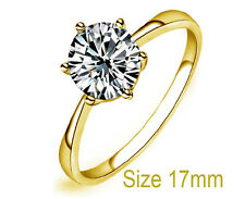 Shiny Gold & White Zircon Medium Size O Engagement Ring Diameter 17 mm FR175