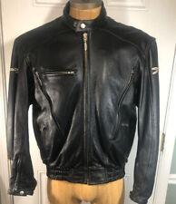 Joe Rocket Black Leather Motor Cycle Jacket Size Large Full Zip Insulated Heavy