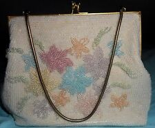 Walborg Vintage Purse HandBag White Flowers Pearls Beads Pink Blue Green Gold