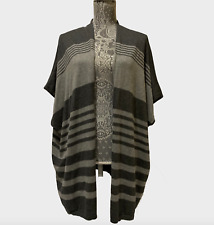 ANA A New Approach Cardigan Sweater Vest Tunic Top Women Striped Gray
