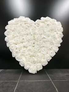 Mothers Day White Foam Rose Heart Wall Hanging Decoration