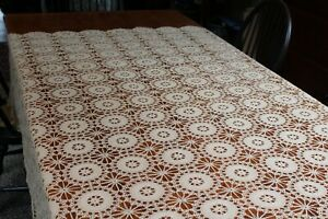 Vintage Hand Crocheted Cotton Beige Tablecloth 72x78