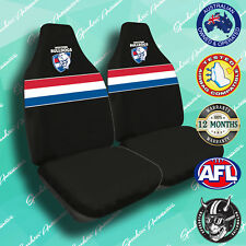 NEW! WESTERN BULLDOGS FRONT CAR SEAT COVERS, OFFICIAL AFL, AIRBAG COMPATIBLE