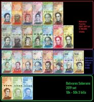 Venezuela Full Set 2 - 100,000 Bolivares, 2-500 Soberanos plus 3 newest -24 PCS