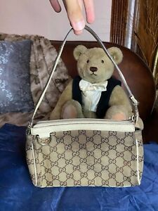 GUCCI GG Canvas Fabric Leather Handbag Shoulder bag Authentic Beat Up