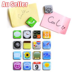18 Pcs iPhone App Logo Refrigerator  Fridge Magnets Whiteboard Memo Magnet Icons