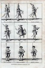 1801 ANTIQUE MILITARY PRINT THE MUSKET AND HALBERT EXERCISE PL6
