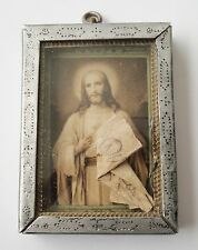 RARE OLD FRAME SACRED HEART OF JESUS EX VOTO