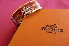 HERMES Gold Tone Vibrant Red Wide Printed Enamel Bangle Bracelet GORGEOUS!