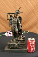 Sign Roche St Michael Slaying Lucifer Bronze Marble Base Sculpture Statue Figure