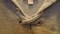 Michael Kors Womens Sweater Top Shirt Blouse Size Large Grey Hood Pretty Cute!!!