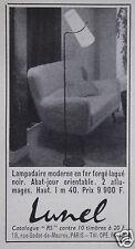 PUBLICITÉ 1958 LUNEL LAMPADAIRE MORDERNE FER FORGÉ LAQUÉ NOIR - ADVERTISING