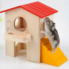 NATURAL WOODEN HAMSTER MOUSE GERBIL PLAYGROUND RATS PETS TOYS PLAY HOUSE L UKYQ