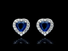 1.00ct Blue Sapphire & Diamond Halo Studs 14k White Gold Earrings.