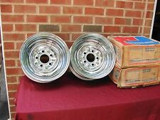 VINTAGE NOS SUPERIOR CHROME REVERSE WHEELS 14 X 6 WITH 5 BOLT & 5 INCH  BC.5X5