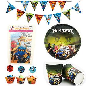50pcs/lot Ninjago Theme for 12 Kids Party Supplies Decoration Tableware Set