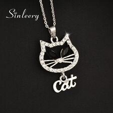 Cute Women Hollow Rhinestone Cat Pendant Necklace 18K White Gold Chain Xl711
