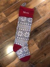 New Pottery Barn Kids Knit Fair Isle Gray Snowflake Christmas Stocking Mono Mom