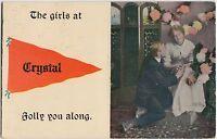 Indiana Ind Postcard 1915 CRYSTAL Pennant Postcard Romance