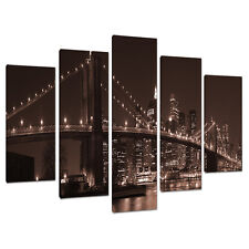 5 Panel Brown Wall Art New York City Canvas Pictures NYC Bridges 5122