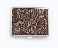 Egypt Bronze Metal Cigarette Case Holder Smoke Regular Size Tobacco