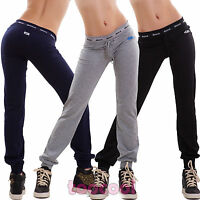 Pantaloni donna tuta cotone dance elastico sport fitness polsini nuovi 8818