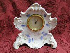 """KPM White with Blue Flowers, Pink Edge, Gold Trim: Clock AS IS 6 1/2"""""""