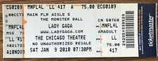 LADY GAGA 2010 The Monster Ball Tour FULL Concert TICKET CHICAGO Theatre Music