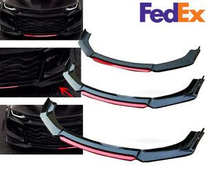 Universal Glossy Black Front Bumper Lip Spoiler Splitter Protector Kit Red Line