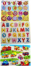 Kids Puzzle 3 Piece | ABC, Numbers and Vehicle wooden puzzle Pre School Educatio
