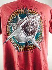 Vintage Shark Shirt Red Life form Great White Jaws Boho Rocker Metal Punk 80s M