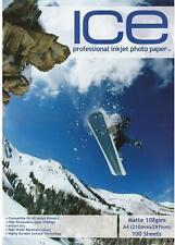ICE MATTE INKJET PRINTER PHOTO PAPER 108GSM / 110GSM A4 100 SHEETS 5760DPI