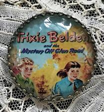 "TRIXIE BELDEN Glass Dome BUTTON 1 1/4"" Vintage BOOK COVER ART"