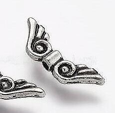 Flügel Engel basteln Schutzengel silber Perlenengel 15x5 Metall Schmuck DIY