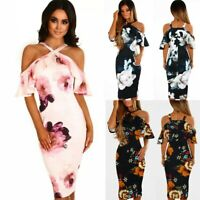 UK Women's Off Shoulder Floral Bodycon Dress Party Ladies Summer Holiday 6-16