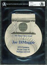 Yankees Joe DiMaggio Signed 7x8 1973 MS Hope Chest Award Program BAS Slabbed