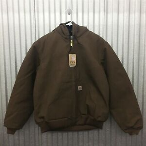 NWT Carhartt USA Made J140 Flannel-Lined Duck Active Jacket Medium Coffee Brown