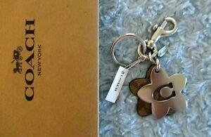Coach Wildflower Silver Signature & Khaki Key Ring Bag Charm C4316 $58 NWT