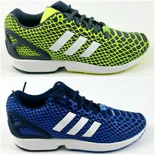 ADIDAS ZX FLUX TECHFIT Men's Running Training Sneakers YELLOW - BLUE BRAND NEW!