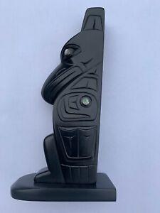Northwest Coast Native Art (Haida) Argillite Raven Sculpture