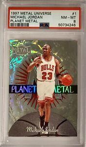 1997 Fleer Metal Universe Planet Metal Michael Jordan PSA 8 Bulls GOAT HOF