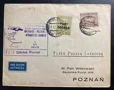 1929 Gdańsk Poland First Flight Cover FFC To Poznan Only 150 Flown
