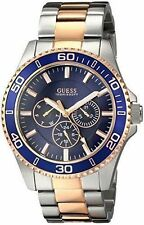 GUESS Men's U0172G3 Two-Tone Rose Gold-Tone with Blue Multi-Function Dial Watch