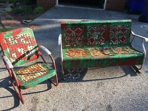 vintage metal patio glider With Chair