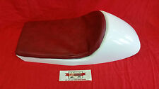 LARGE CAFE RACER SEAT WHITE WITH RED UPHOLSTERED PAD BMW TRIUMPH MOTO GUZZI