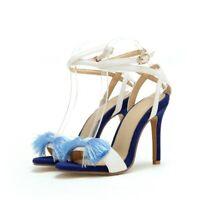 Women Tassels Sandals Stiletto Heels Ankle Strap Buckles Party Summer Shoes 4.5